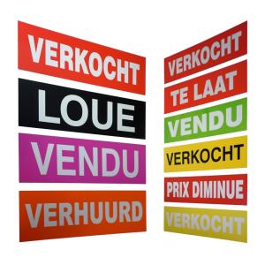 'Verkocht' stickers logo