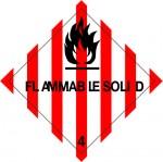 4.1 Brandbare vaste stoffen met tekst (Flammable Solid) logo