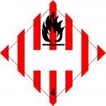 4.1 Brandbare vaste stoffen met wit UN-vlak logo