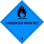 4.3 Stoffen die in contact met water brandbare gassen ontwikkelen met tekst (Dangerous when wet) logo