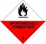 4.2 Voor zelfontbranding vatbare stoffen met tekst (Spontaneously Combustible) logo