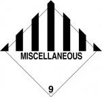 9.0 Diverse gevaarlijke stoffen met tekst (Miscellaneous) logo
