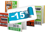 vouwborden zeefdruk -15% logo
